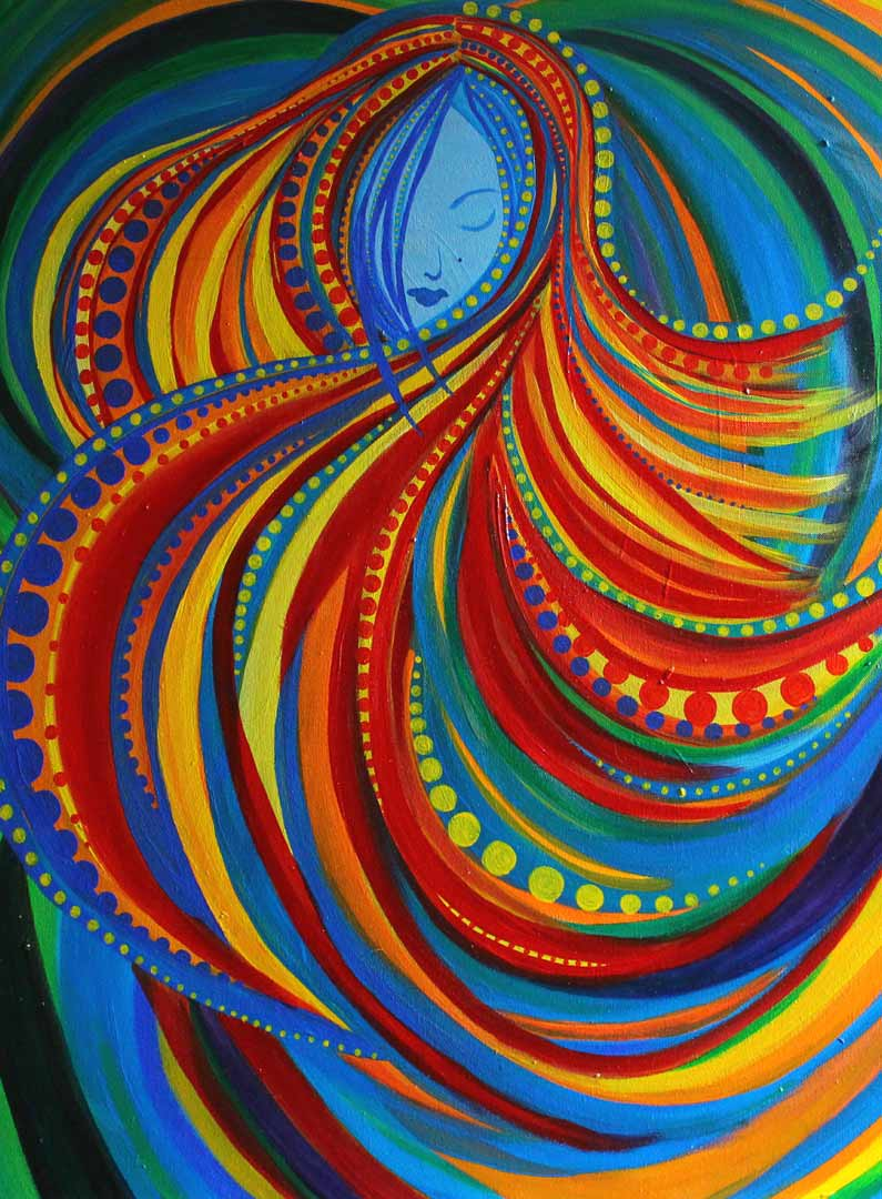 "Acrylic painting called ""She Dances"" is an image of a woman with swirls of bright color strokes of red, orange, and yellow. There are blue and green curved strokes in the background. There are orbs of yellow and blue throughout the painting."