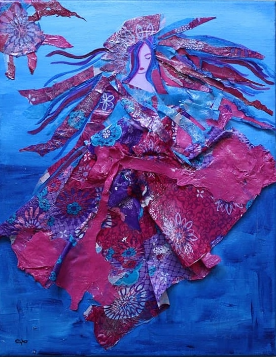 blue and pink melted plastic collaged female figure floating on a blue acrylic painted background with hair flying behind her and an abstract sun shape radiating in the upper left hand corner of canvas