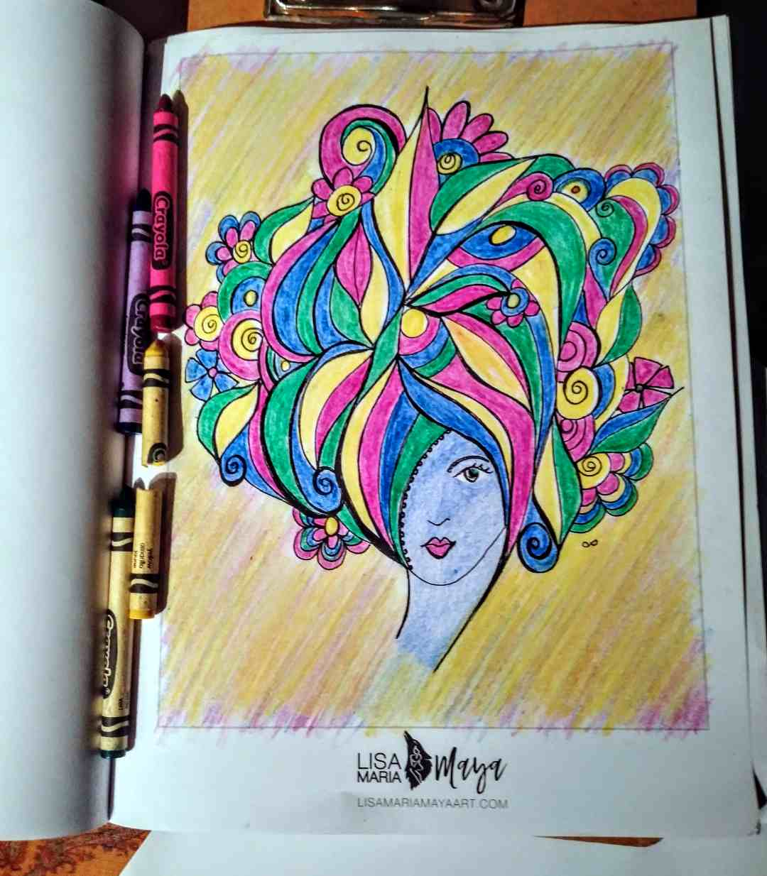 Page from Lisa's Coloring book that was colored by a friend