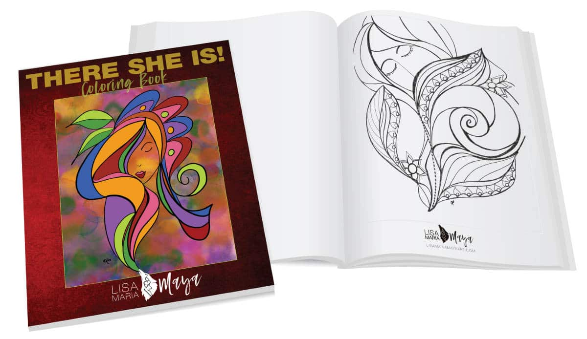 Image of open coloring book with another closed book on top.
