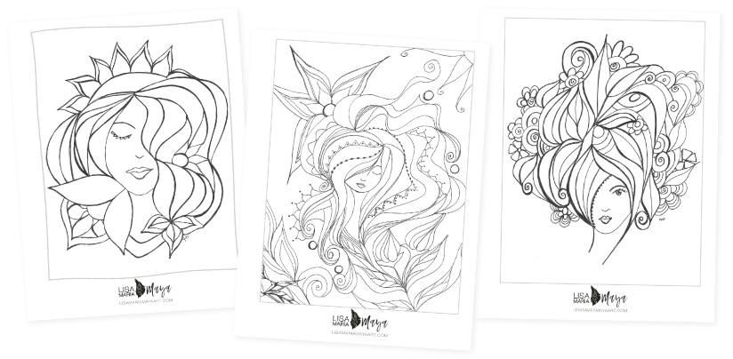 3 sample images from the There She Is coloring book by Lisa Maria Maya artist